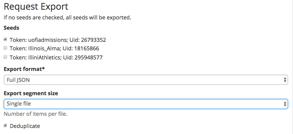 Exporting data for a defined account from a collection